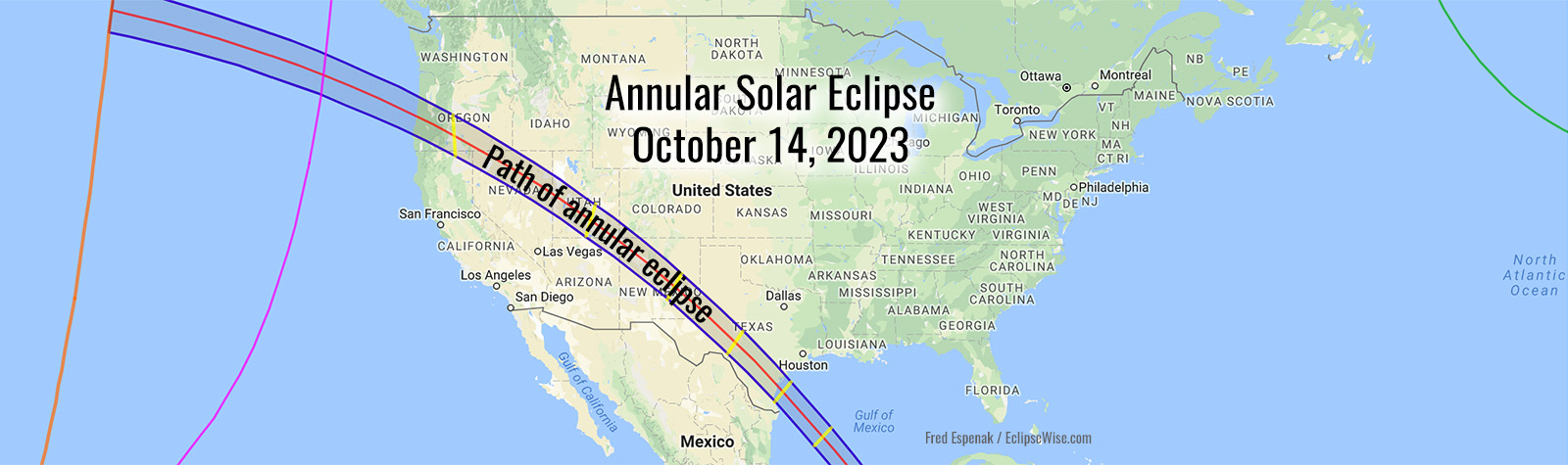 Map of 2023 Annular Solar Eclipse