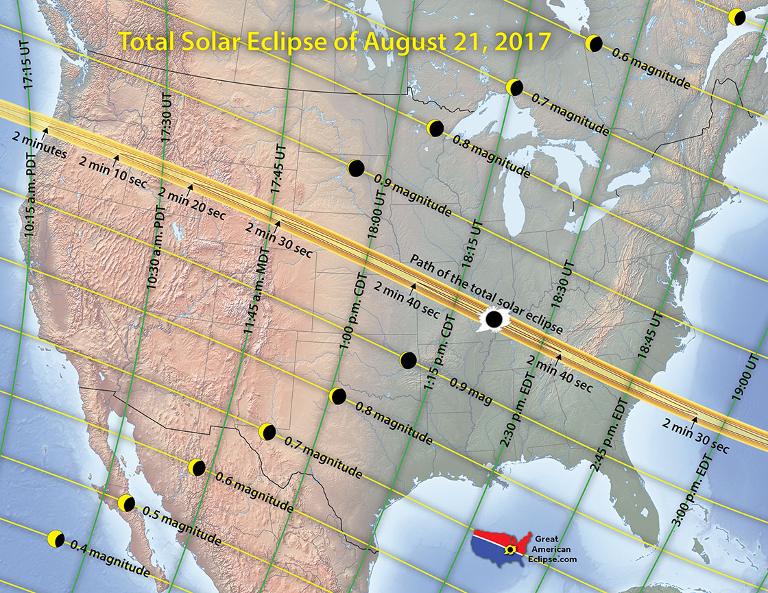 Eclipse 2017 Map When & Where to See the Solar Eclipse of August 21, 2017 | Solar