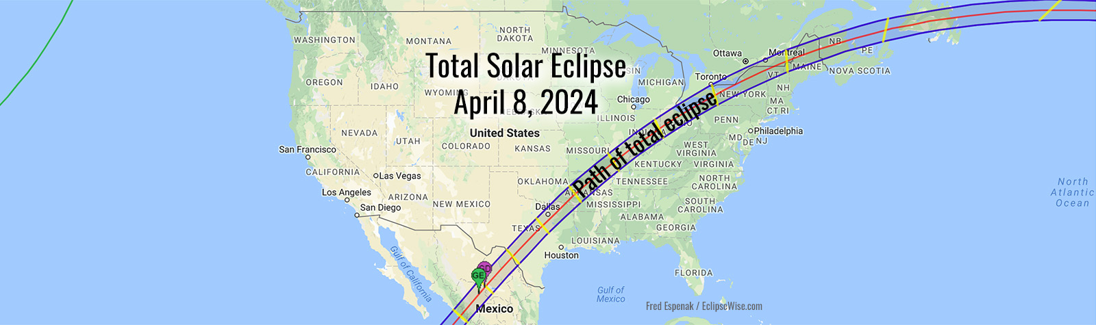 Map of 2024 Total Solar Eclipse