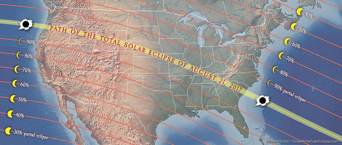 Science Glossaries Maps History Total Solar Eclipse - Us total eclipse 2017 map